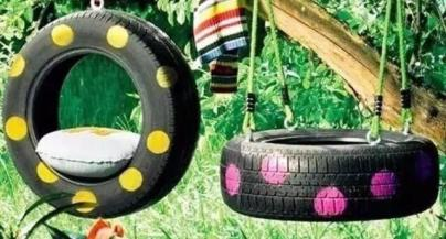 Car tyre garden showing the different beauty